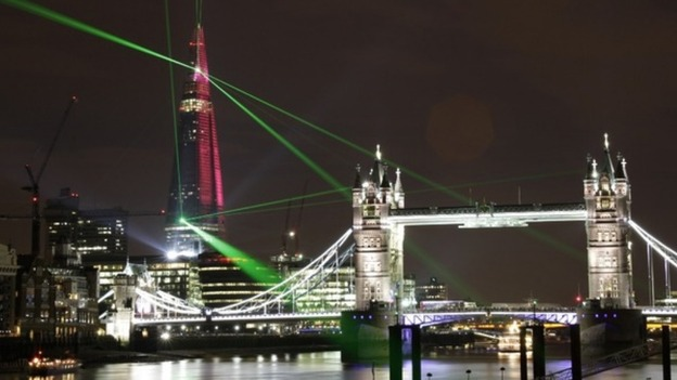 Europe's tallest building has been officially unveiled in central London  with a spectacular laser show across the capital.