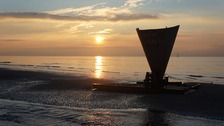 The four-metre high machine materialised on Maryport's beach.