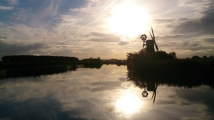 The windmill at Turf Fen on the River Ant near Ludham in Norfolk in the Broads National Park.