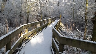 The broadwalk at Barton Broad in Norfolk during the winter of 2013.