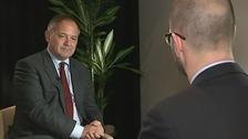 Benoit Coeure met ITV News' Richard Edgar in Davos today.