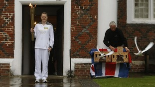 The torch leaves Christchurch Mansion