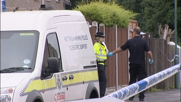 Scene of shooting of Mark Shaw in Heatherington Gardens in Nottingham