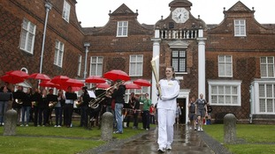 The Olympic torch at Christchurch Mansion