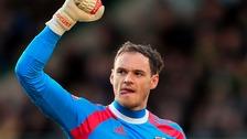 Brentford's David Button goalkeeper celebrates their opening goal