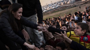Angelina Jolie at the refugee camp in Iraq.