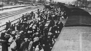 A prisoner transport arrives at Auschwitz in spring 1945.