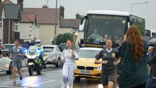 The Olympic Torch coming down Ipswich Road in Colchester this morning