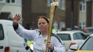 The Olympic Torch on Ipswich Road in Colchester