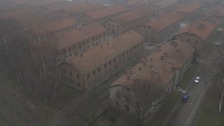 Drone footage shows Auschwitz from above.