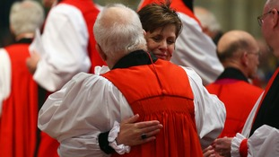 Rev Lane gets a hug after she is ordained.