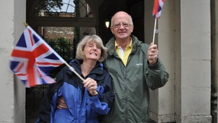 Marion & Graham Lewsey from Stisted in Colchester at 6.30am to see the Olympic Torch