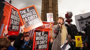 Green party MP Caroline Lucas speaks at the anti-fracking rally