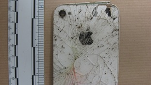 The iPhone case found buried in the garden.