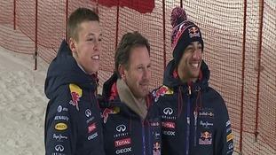 Daniil Kvyat, Christian Horner and Daniel Riccardo