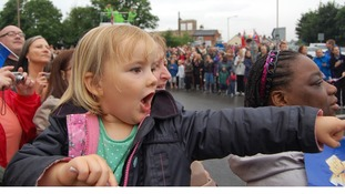 Phoebe Hopkins age 3, went to see the Olympic Torch this morning with her Mum.  A magical moment for her!