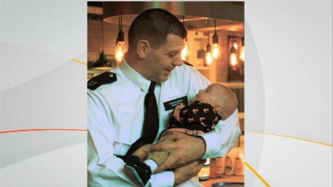 PC Steve Norton with baby Harrison.