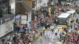 Despite the weather, around 30,000 people enjoyed the Olympic Torch in Rayleigh