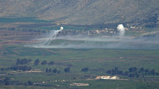 Smoke rises after an explosion near the village of Ghajar on the Israeli-Lebanese border