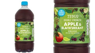 Tesco No Added Sugar Double Concentrate Apple and Blackcurrant 750ml and 1.5l products have been withdrawn.