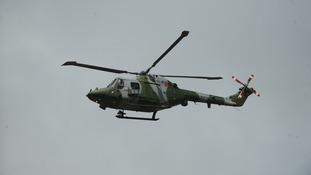 Lynx helicopter taking to the skies above the West Country