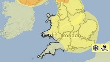 Area covered by a yellow weather warning from the Met Office