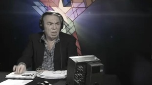 Andrew Lloyd Webber listens to a 'Jesus Christ Superstar' hopeful with a shocked and disgusted look on his face