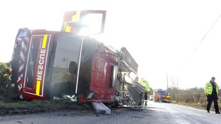 The fire engine that crashed near Stowmarket in Suffolk