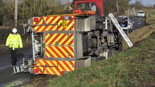The fire engine that overturned in Suffolk