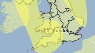 Areas covered by a yellow weather warning on Sunday and Monday