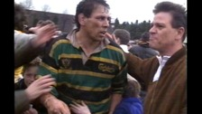 Wayne Shelford mobbed by fans after a Northampton Saints game