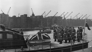 The flag-draped coffin of Sir Winston Churchill on board the Havengore 30/01/65