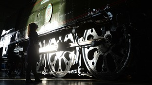 The restored locomotive 'Winston Churchill' goes on display at the National Railway Museum, York