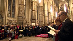 A private service in remembrance of Sir Winston Churchill at Westminster Abbey