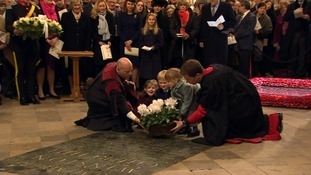 Three of Churchill's great-great-grandchildren lay a wreath at Westminster Abbey
