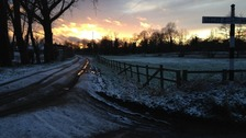 Snowy sunset at Corpusty in Norfolk