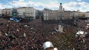 Central Madrid has been flooded with tens of thousands of anti-austerity protests.