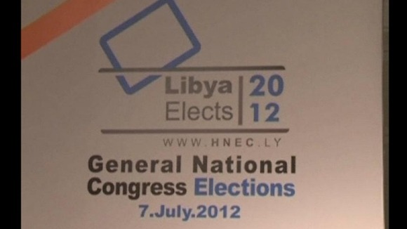 Signage for Libya&#x27;s General National Congress elections