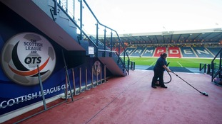 Preparations are made before the Scottish League Cup Semi Final at Hamden Park