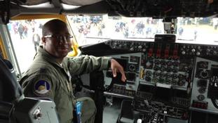Pilot inside cockpit