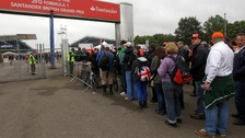 Fans queue to get into Silverstone for qualifying during for the British Grand Prix at Silverstone Circuit on Saturday