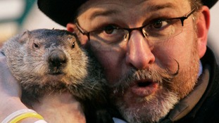 Groundhog Punxsutawney Phil makes his annual prediction in Pennsylvania.