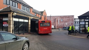 The stagecoach bus crashed into a building at Carlisle Bus Station
