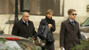 Marina Litvinenko (centre) and son Anatoly (right) leave the inquiry at the Royal Courts of Justice