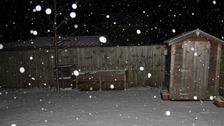 Snow in Cambridge on Monday evening.