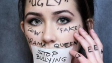 Skye Mitchell, covered in the words she was bullied with