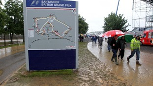 Fans make their way around the track during qualifying for the British Grand Prix