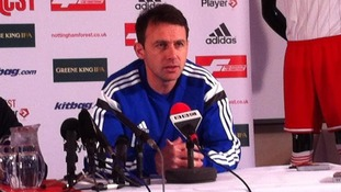 Dougie Feedman in his first press conference at Nottingham Forest