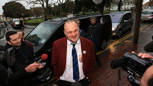 Al Murray arrives at the council offices in Margate, Kent, to officially launch his election campaign to beat Ukip leader Nigel Farage