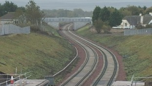 Track laying on the new Borders Railway line has reached the centre of Galashiels